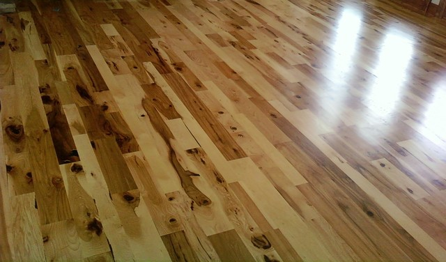 Hickory Wood Flooring Rustic Living Room Other Metro