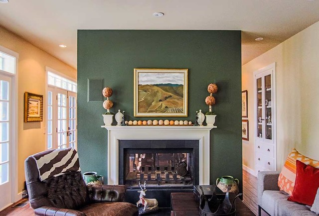 Hidden Speakers Above Fireplace Traditional Living Room