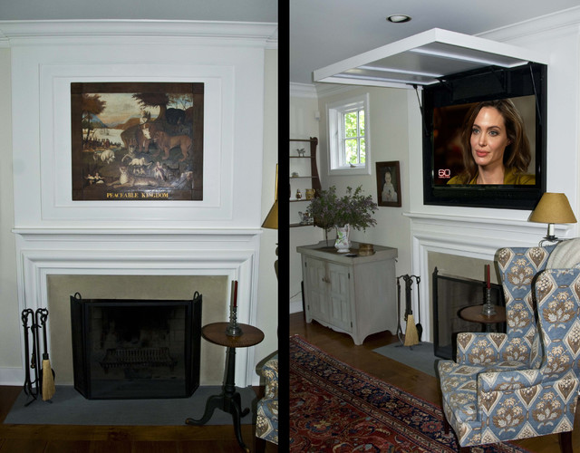 Hidden television in a traditional space traditional for Hide tv in living room