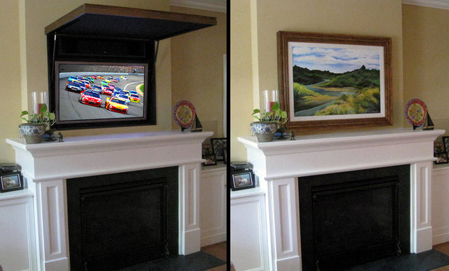 Traditional Living Room Tv hiding a flat panel tv above a fireplace - traditional - living