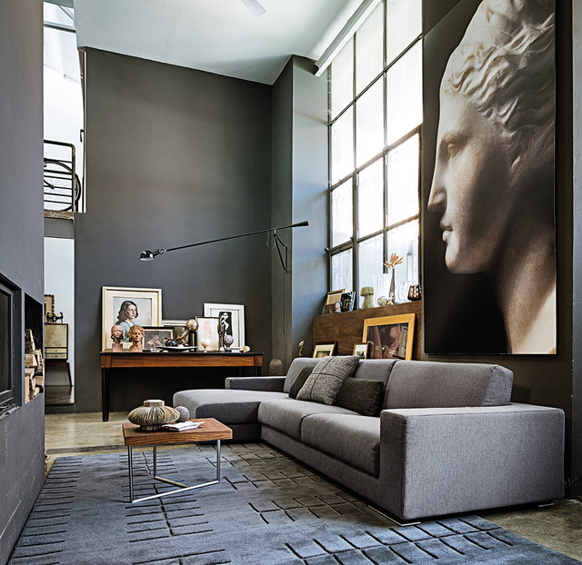 High Ceilinged, Contemporary Loft Space With Greys And