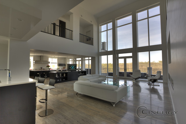 HighEnd Residential Modern Living Room Calgary by Cinergy