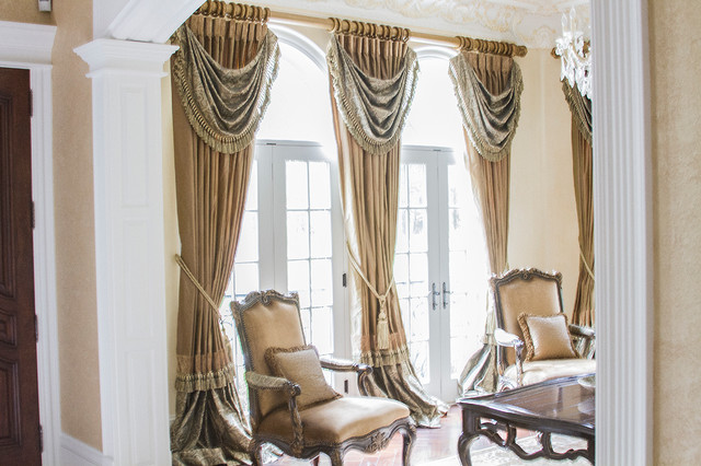 high end window treatments traditional living room