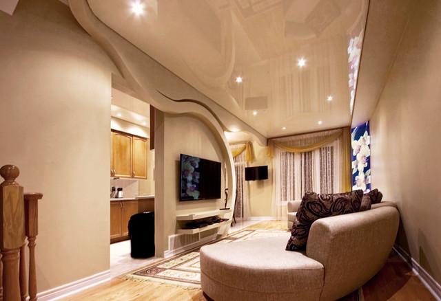 High Gloss Stretch Ceiling & Backlit Mural modern-living-room