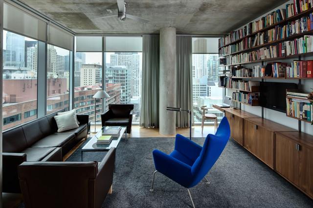 high rise apartment インダストリアル リビングルーム シカゴ