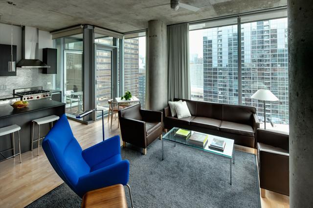 High Rise Apartment Contemporary Living Room Chicago