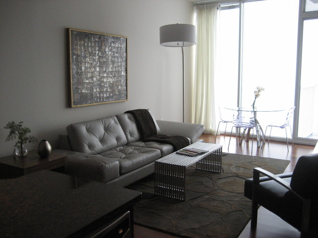 High rise condo in downtown raleigh contemporary for Condo living room designs