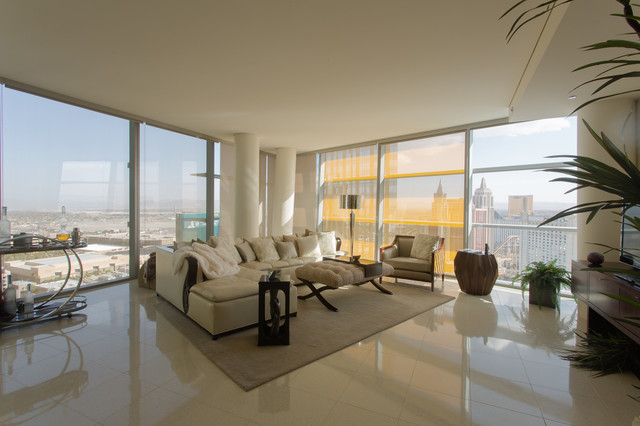 High Rise Veer Towers City Center Las Vegas Living Room Las Vegas By Bigelow Interiors Llc