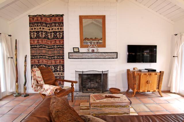 High White Ceilings Create Airiness in Living Room southwestern-living-room