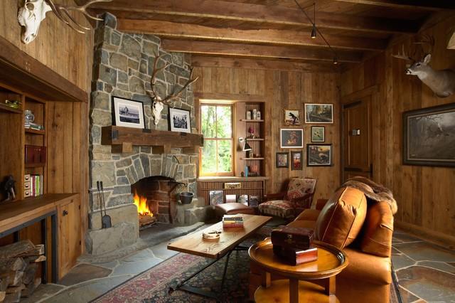 Highcroft Hunting Barn Rustic Living Room