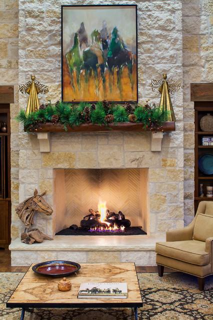 Hill Country Christmas Farmhouse Living Room Austin By Dawn Hearn Interior Design
