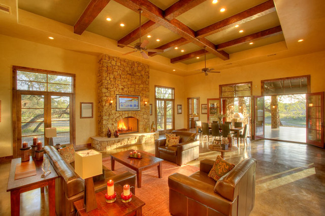 Hill Country Craftsman Living contemporary-living-room