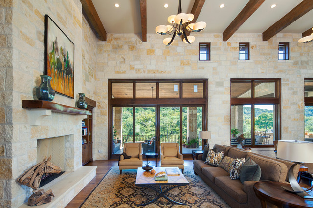 Hill country custom home rustic living room austin for Homeinteriors com texas