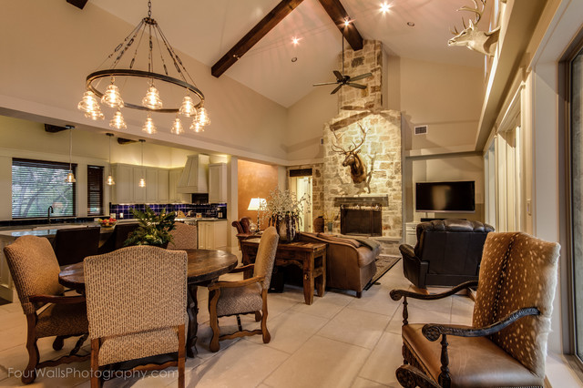 Hill country fusion cowboy home eclectic living room for Cowboy living room ideas