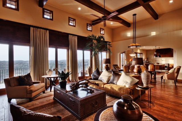 Hill Country Fusion In Westlake Eclectic Living Room