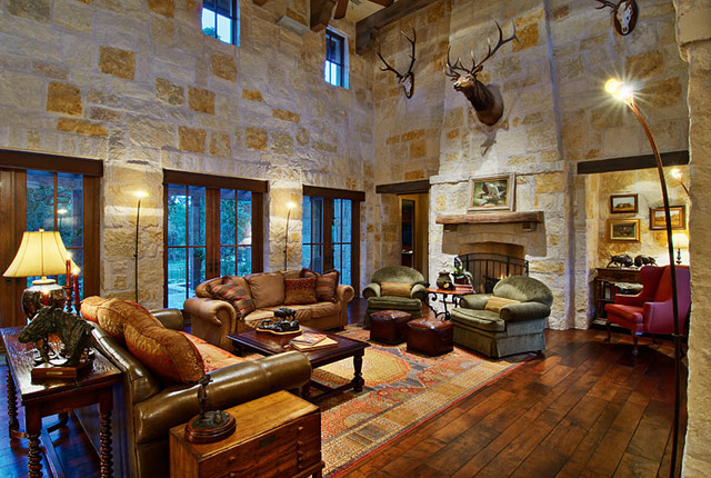 Hill Country Ranch Living Room traditional-living-room