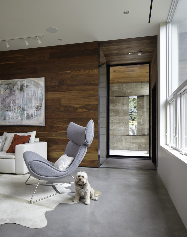 Living room - contemporary concrete floor living room idea in Austin with white walls