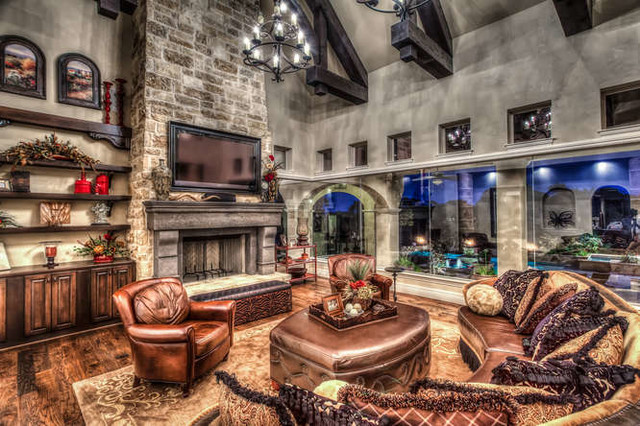 Hill Country Tuscan Home With Courtyard Mediterranean Living Room Other Metro By Stadler