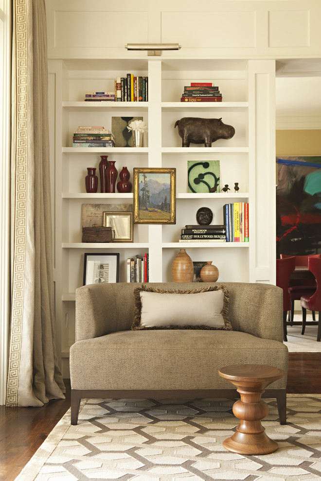 Living room library - transitional living room library idea in Los Angeles