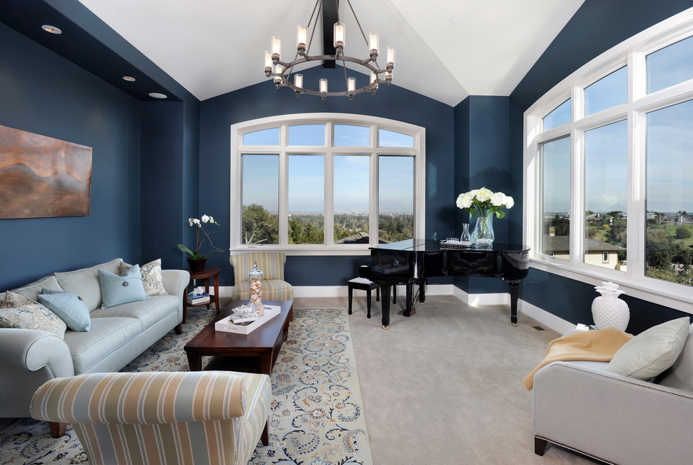 Inspiration for a contemporary living room remodel in San Francisco with blue walls