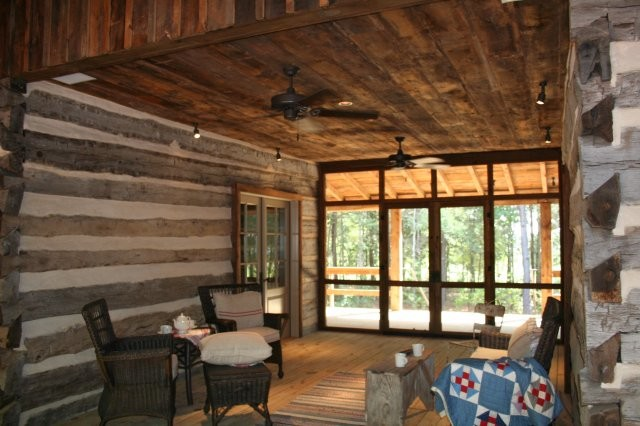 Historic 1856 Dog Trot Log Home Rustic Living Room