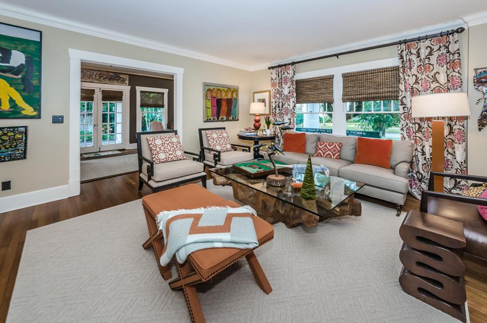Elegant formal and open concept dark wood floor and brown floor living room photo in Tampa with beige walls
