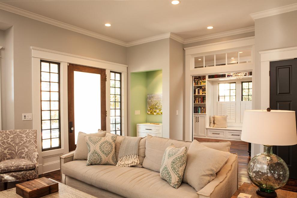 Elegant enclosed living room photo in Atlanta with gray walls