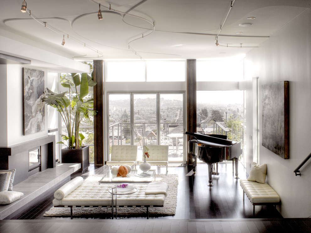 Living room - modern living room idea in San Francisco with a music area