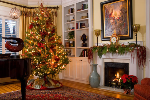 Holiday decor traditional living room richmond by Christmas living room ideas