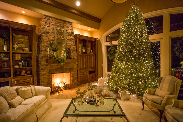 Holiday decorating traditional living room portland - Pictures of decorated living rooms ...