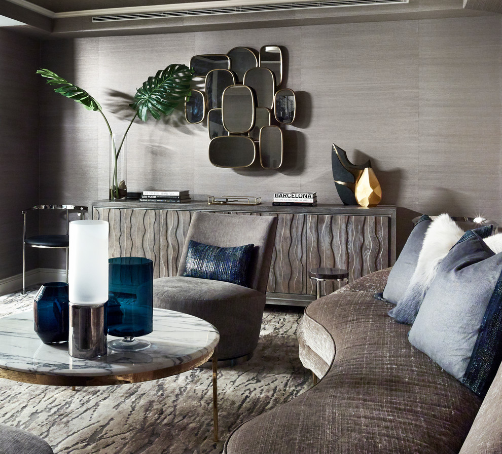 Mid-sized trendy enclosed and formal carpeted and gray floor living room photo in New York with gray walls, no fireplace and no tv