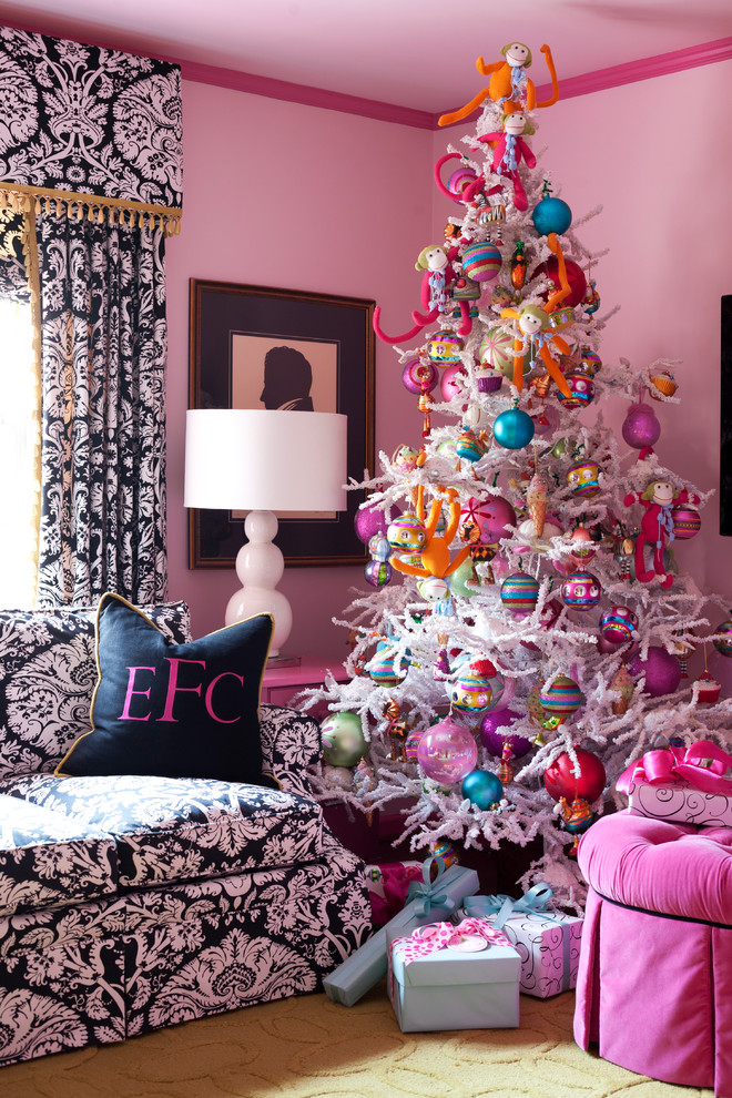 Living room - eclectic living room idea in Little Rock with pink walls
