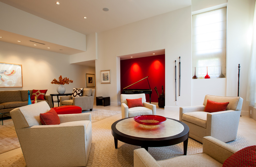 Inspiration for a contemporary living room remodel in Dallas with a music area and white walls