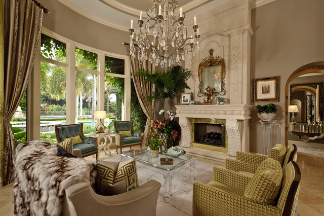 Hollywood Glamour traditional living room miami