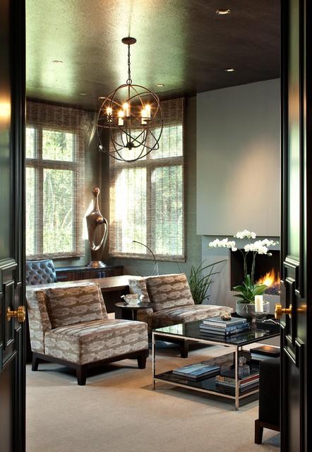 Hollywood glamour meets modern modern living room for Glam interior design