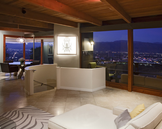 Hollywood Hills Night Shot Modern Living Room
