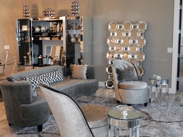Hollywood Regency Beach House contemporary living room orlando