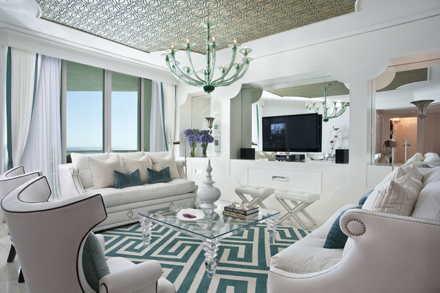 Hollywood regency interior design eclectic living room for Tiffany blue living room ideas