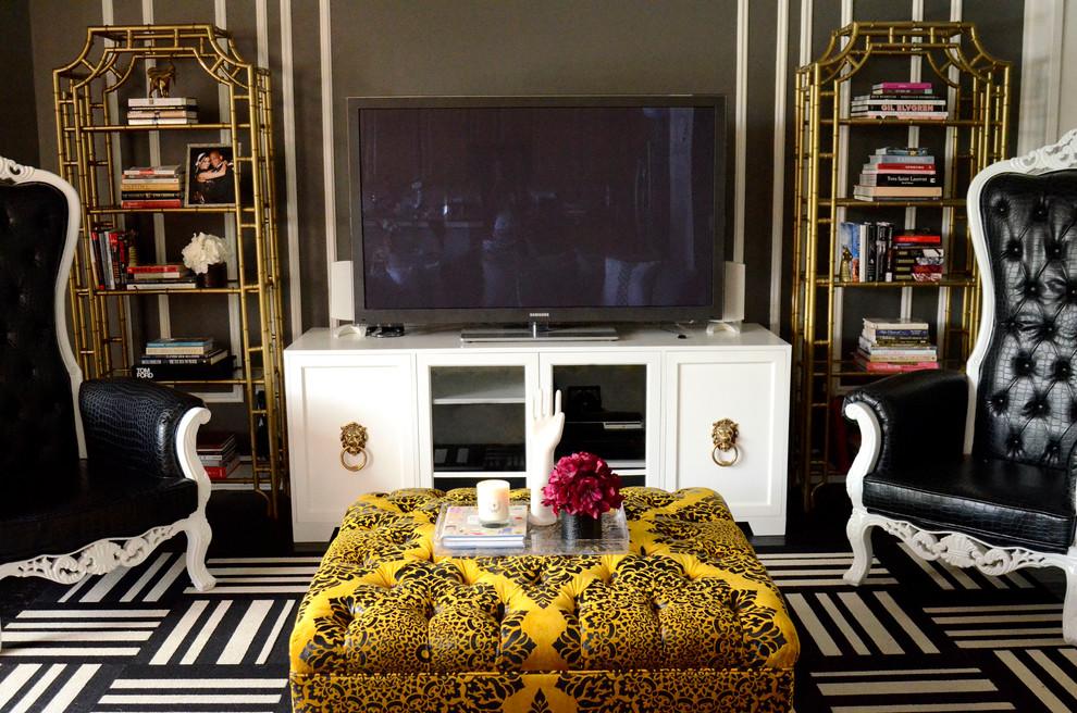 Hollywood Regency Modern Glamour Meets Alice In Wonderland Eclectic Living Room Tampa By Lisa Gilmore Design
