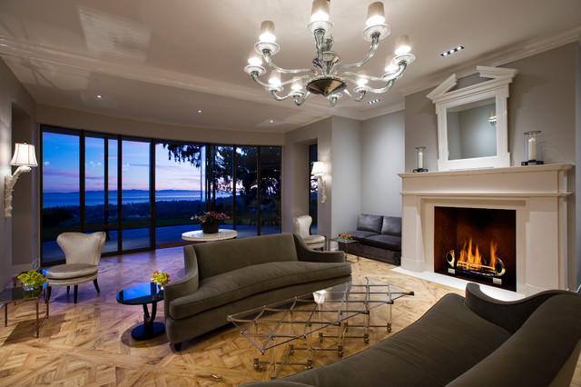 Hollywood Regency Montecito contemporary living room other metro
