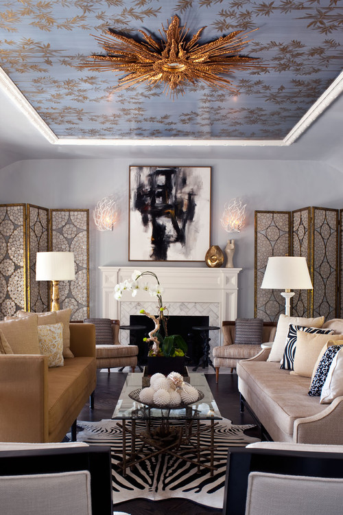 Silver leaf ceilings that inspire decadence photos for Family room los angeles