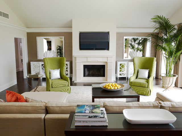 example of a trendy living room design in los angeles with beige walls a standard - Contemporary Color Scheme