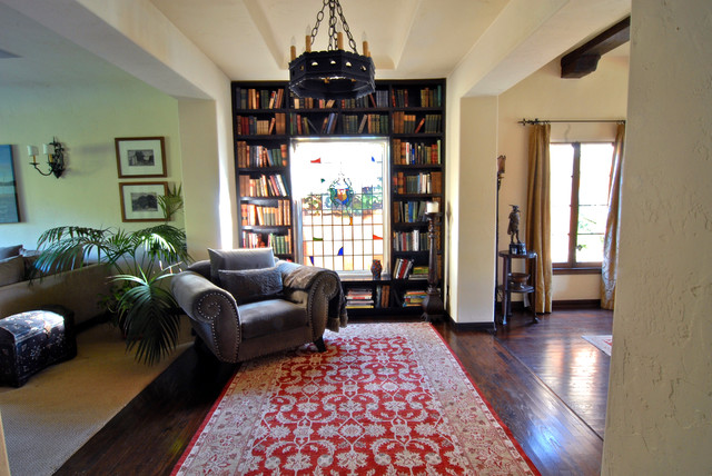 Hollywood Spanish Colonial Restoration living-room
