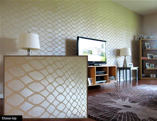 Perfect Home Decor Wall Stencils Contemporary Living Room Part 19