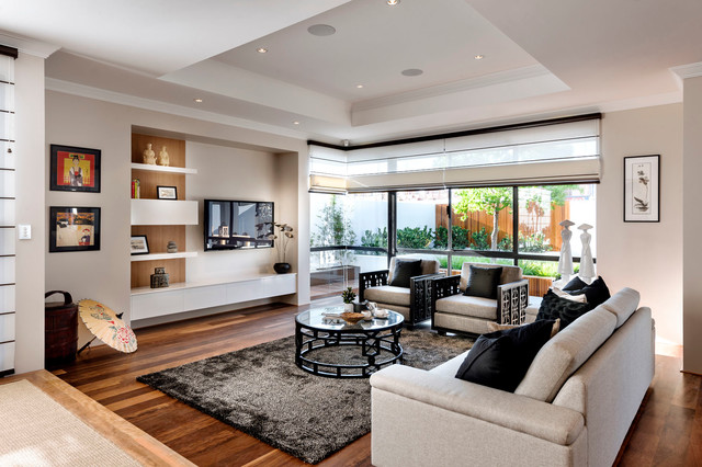 Living Room   Large Zen Open Concept Living Room Idea In Perth With Beige  Walls And
