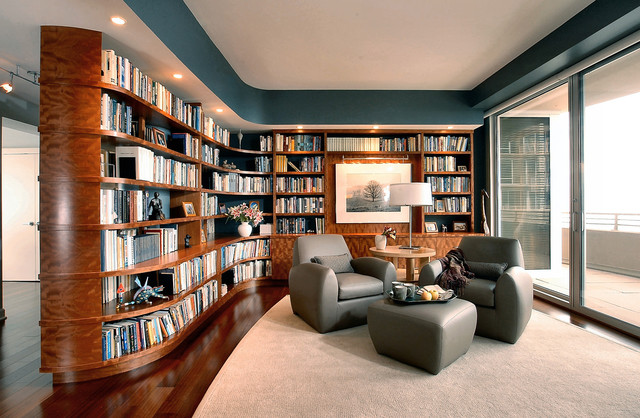 Home Library Chicago North Contemporary Living Room