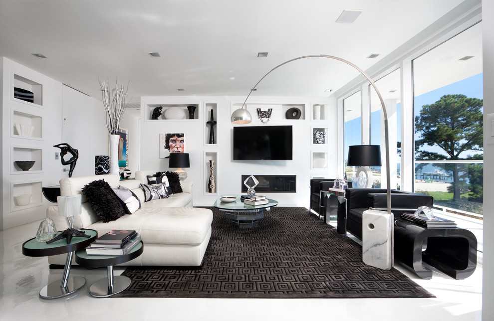 Living room - contemporary open concept and formal living room idea in Richmond with white walls, a ribbon fireplace and a wall-mounted tv