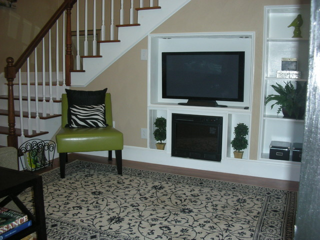Home staging ideas traditional living room other for Living room designs with stairs