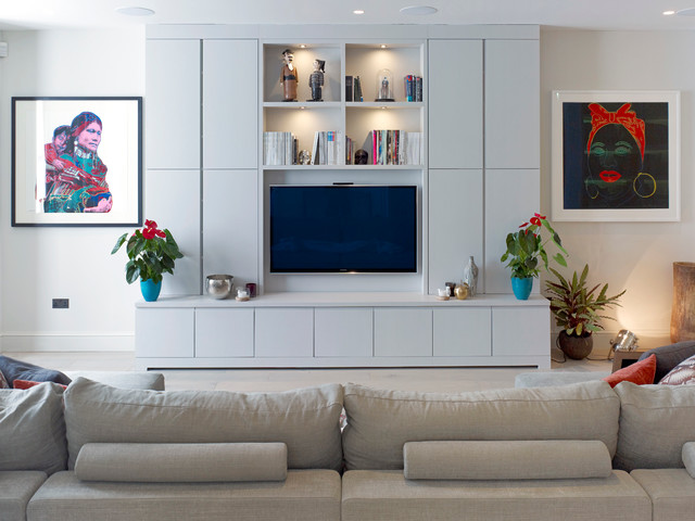 Contemporary Living Room Idea In London With A Wall Mounted Tv Part 13