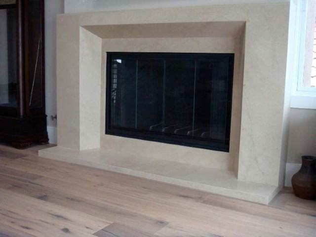 Honed Natural Limestone Slab Fireplace Modern Seattle